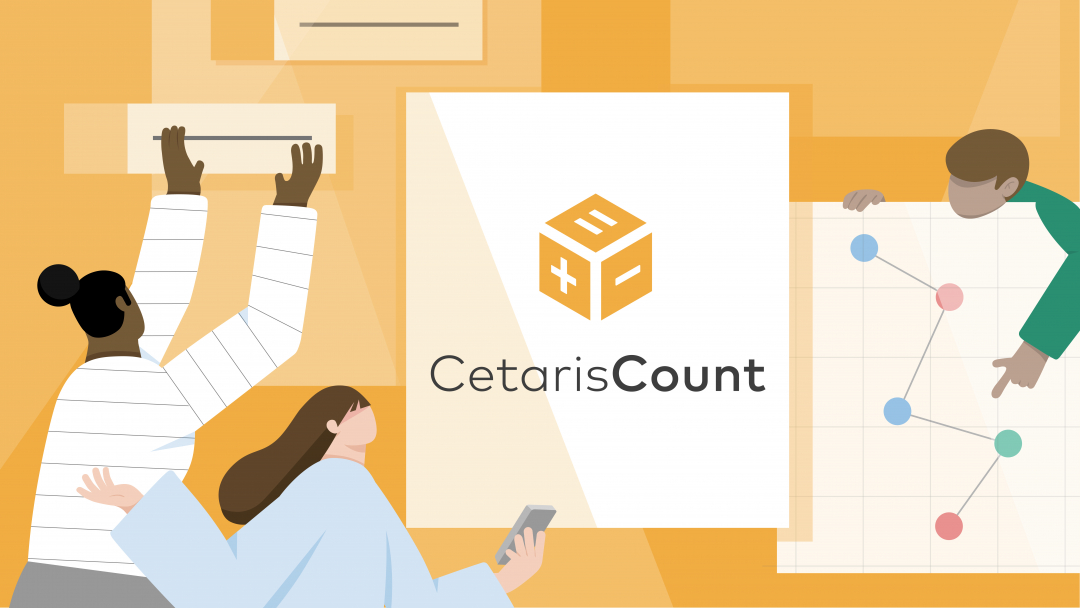 "Three illustrated figures in front of a yellow background that reads ""Cetaris Count"". One figure holds a poster containing a visualization. One figure holds a mobile device. The other figure opens a part bin."