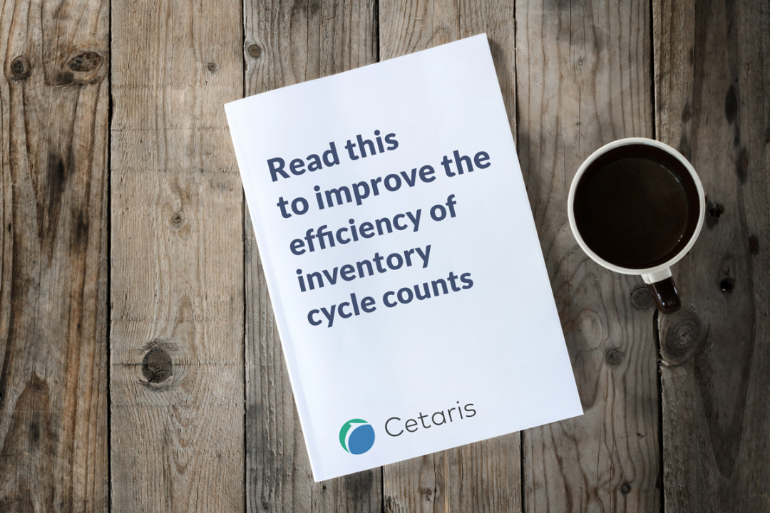 "A booklet on a table reads ""Read this to improve the efficiency of inventory cycle counts"". A coffee cup sits next to the booklet."